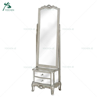 European style floor standing dressing mirror with storage cabinet drawers