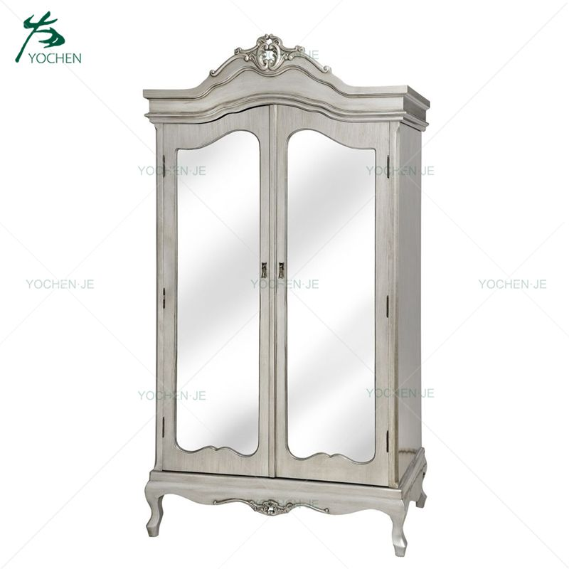 Silver European style antique wooden bedroom wardrobe with mirror