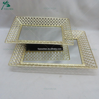 Latticed Metal Mirror Facing Serving Tray in Gold