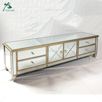Living Room venetian wood mirrored tv stand furniture