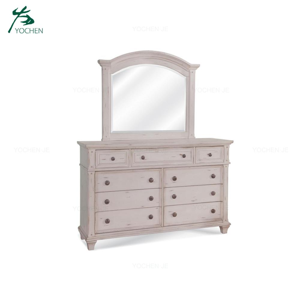 Distressed Wooden Dresser with Mirror Bedroom Furniture