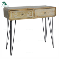 decorative living room furniture wood carving natural color console table