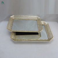 Accent high-end plating metal glass mirror tray set of 2