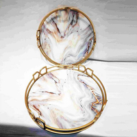 modern round gold serving tray sets with marble base