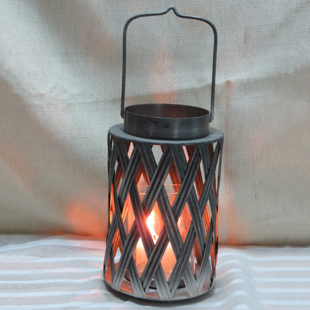 Galvanized Shiny Silver Metal Candle Holder