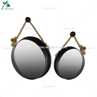 Set 2 Metal Round Mirror with Knotted Rope Hanger