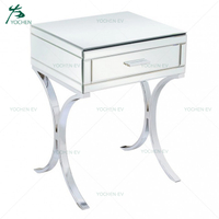Barcelona style Stainless Steel Leg Mirrored and Chrome Wooden Nightstand
