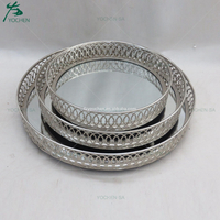 Round Silver Metal Mirored Serving Candle Plated Tray