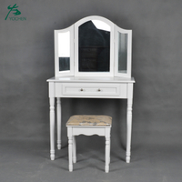 Modern With Foldable Mirror Dressing Table With Drawers
