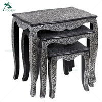 Black Paint Embossed Three Sizes Nesting Wooden End Table