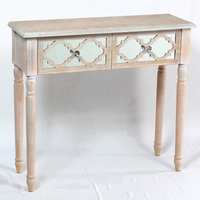 Natural wooden pattern 2 drawer console table with mirror