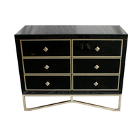 Smoked Black Mirrored Chest of 6 Drawers mirror furniture