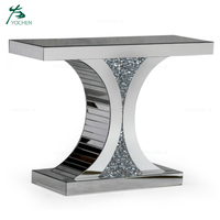 Venetian sparkle mirrored diamond crushed X shape console table