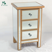 3 drawer nightstand storage cabinet mirror bedside table