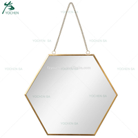 Gold Hanging Wall Mirror Hexagon Modern Chic Vanity Contemporary Trendy Decor