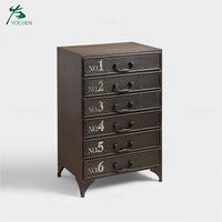 Assembly metal living room 6 drawer cabinet design