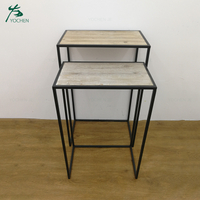 Decorative metal framed rack corner standing wooden wall shelf