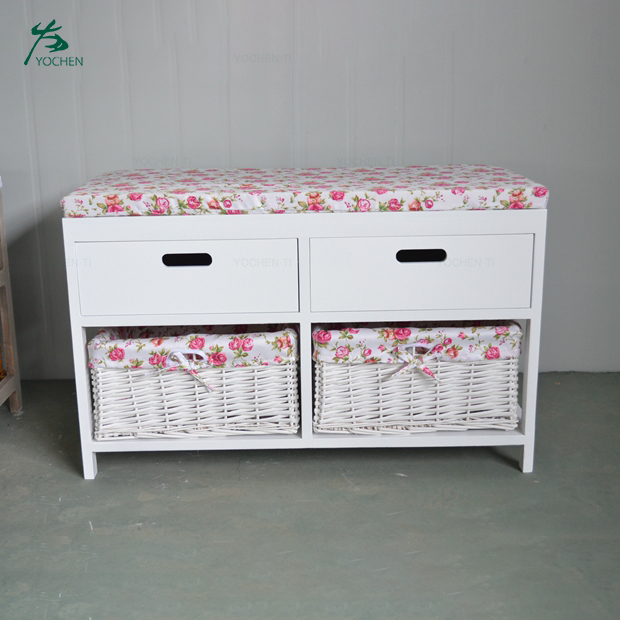 White wooden cabinet storage with 2-drawer and 2-baskets
