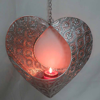 Heart-shape metal hanging candle holder decorative wall decor