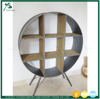 Round Industrial Metal & Wood Shelf Cabinet Indoor Furniture