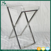 Stainless Steel Foldable Butler Serving Tray Portable Side End Table