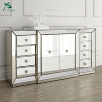 Champagne Beaded Trim Mirrored Buffet Cabinet