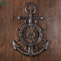 Vintage Anchor Design Metal Wall Clock, Anchor Shaped Metal Clock for Home Decoration