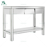 One Drawer Silver Glass Mirror Console Table