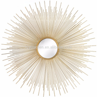 Rising sun gold metal wall art mirror with sun shaped