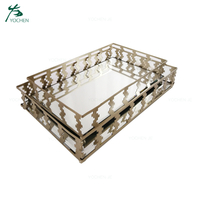 Home Decor Accessory Gold Metal Tray with Mirror
