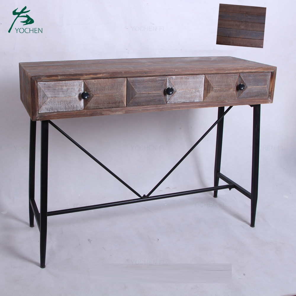 art deco console table industrial American wooden console table