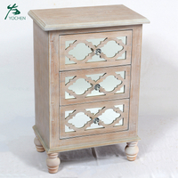 Bedroom Furniture Antique Wooden White Washed Bedside Table