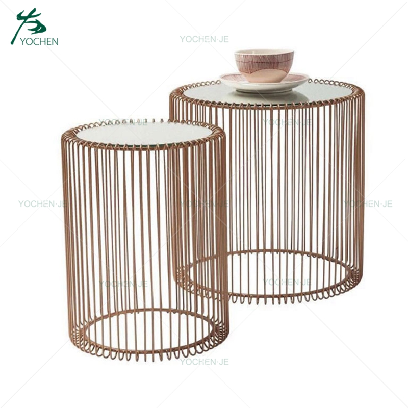 Modern furniture round glass metal coffee side table