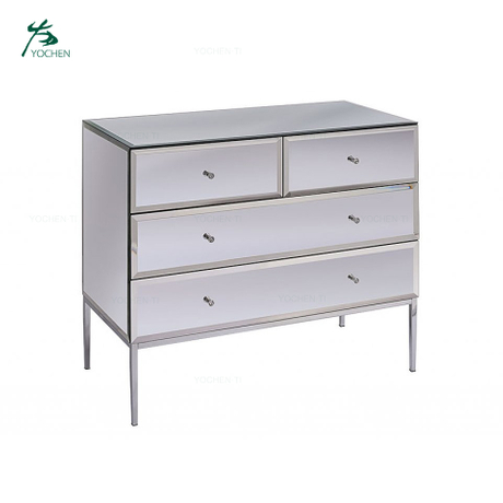 Home Funiture Toughened Stainless Steel Mirror Chest of Drawers