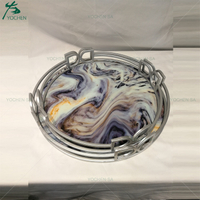 Contrast Faux Marble Effect Silver Framed Metal Trays Set 3