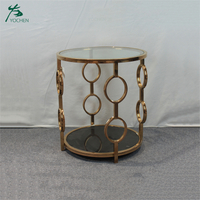 gold metal classic round coffee side table