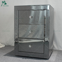 Venetian Gray Mirrored Glass Contemporary Bedside Cabinet