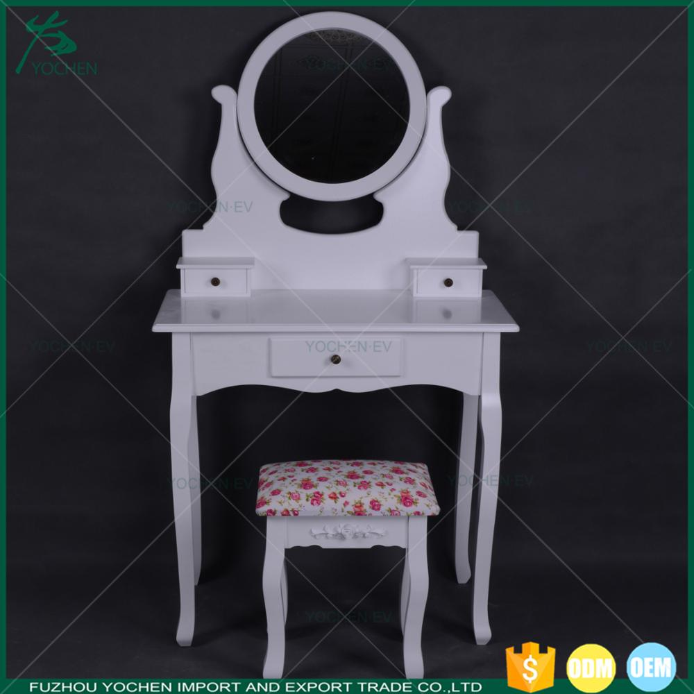 Modern Makeup Vanity White Triple Mirror Dressing Table Mirror with Drawer