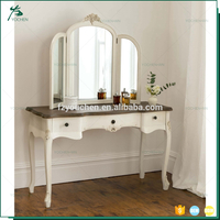 Hot Sale French White Wood Carved With Full-Length Mirror Dresser