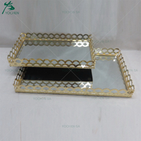 Metal Gold Rectangular Mirror Serving Tray