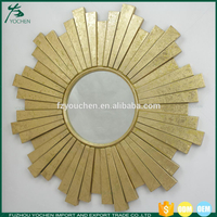 Gold Leaf Sunburst Round Hall Wall Glass Mirror French Style