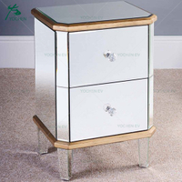 Antique Gold Trim Bevelled Mirror Bedside Table with 2 Drawers