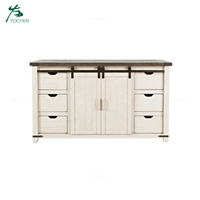 Farmhouse Vintage White Barn Door Wooden Sideboard