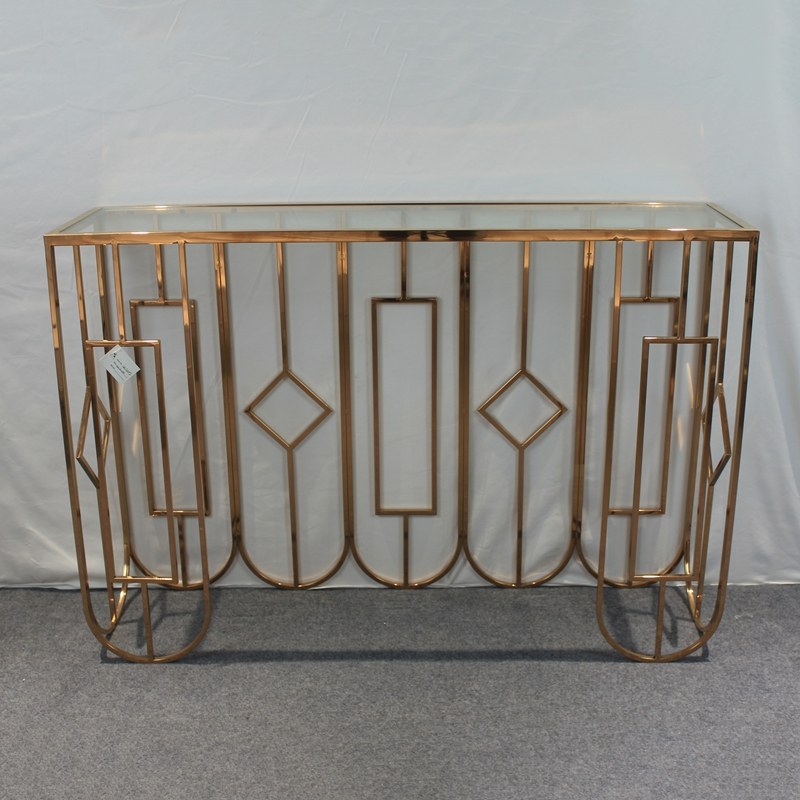 Middle East Style Metal Legs Luxury Gold Hallway Iron Console Table