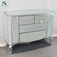 living room decorative silver shining crushed mirrored cabinet