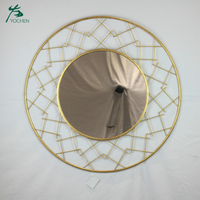Vintage large round decorative antique wall mirror