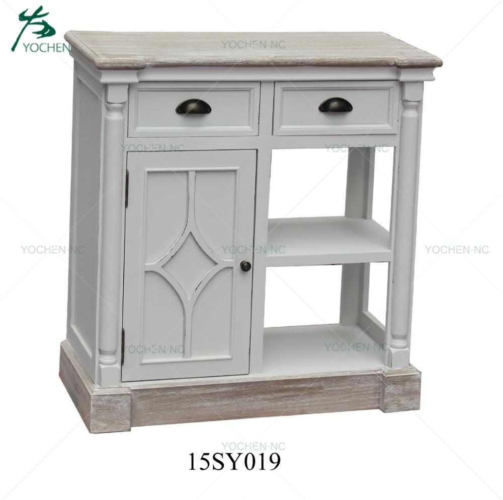 French White Living Room Wooden Cabinet With Storage Drawer