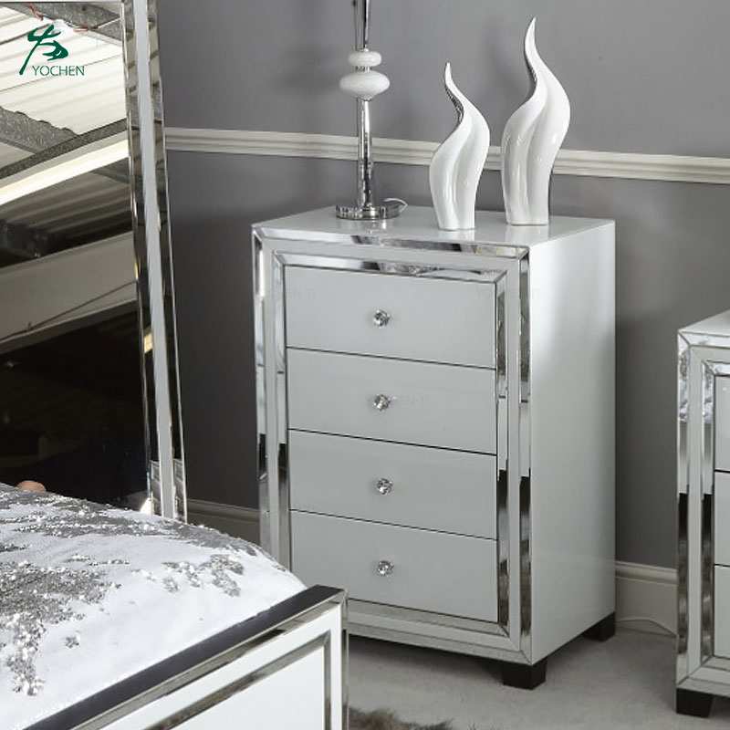 Eco-friendly White Glass 7 Drawer Mirrored Dressing Table