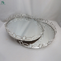 Round Decorative Tray With Mirrored Finish In Silver Color (2-set)