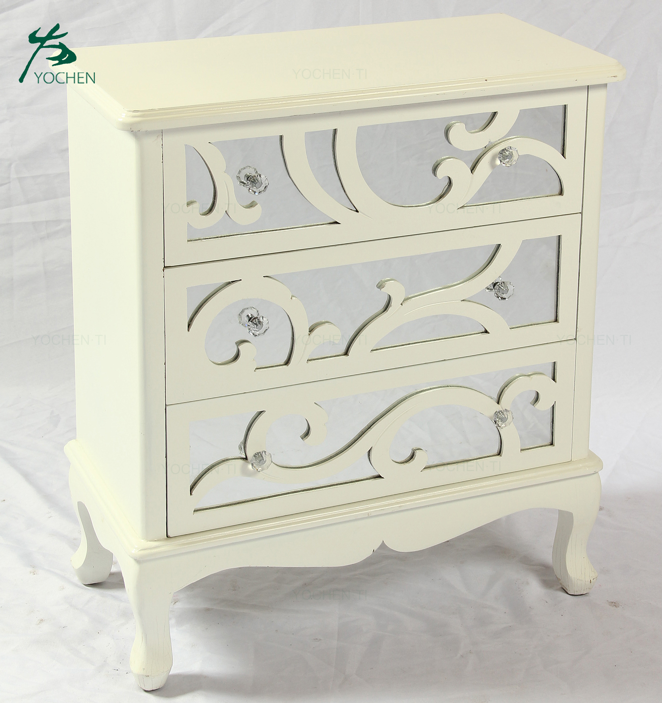 Eco Friendly Antique Mirrored Furniture With Drawers French Style Cabinet